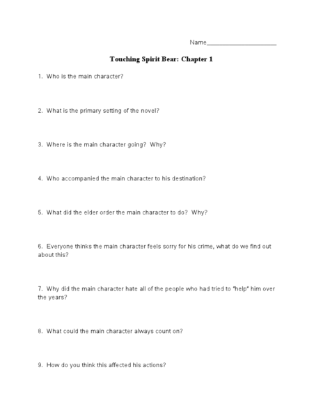touching spirit bear worksheets worksheets library  touching spirit bear plot flow chart teacherlingo com
