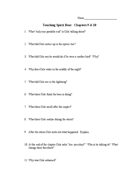 Touching Spirit Bear Chapter Questions 8th - 9th Grade Worksheet ...