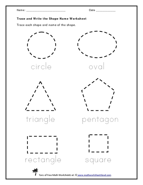 Printables Trace Name Worksheets trace and write the shape name kindergarten 1st grade worksheet lesson planet