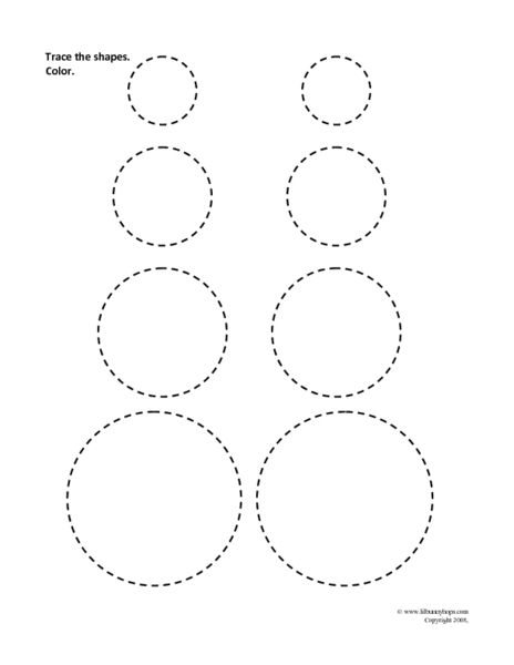 Trace the Shapes: Circles 1st Grade Worksheet   Lesson Planet