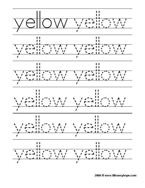 "Tracing the Word ""Yellow"" Pre-K - Kindergarten Worksheet 