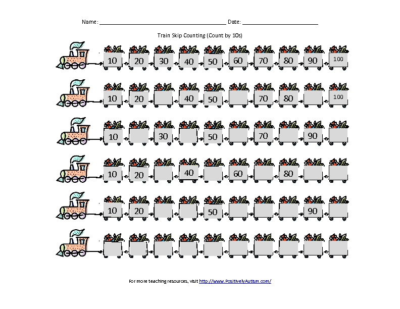 Number Names Worksheets : skip counting by 10s worksheets Skip ...
