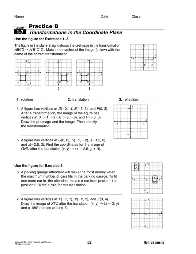 Transformations In The Coordinate Plane Worksheet Worksheets For ...