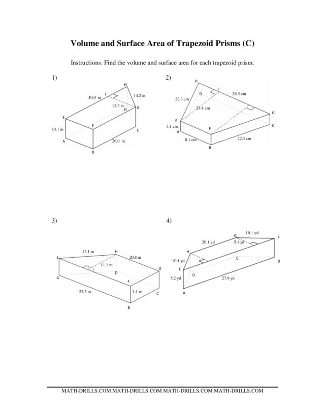 Trapezoid Prisms Surface Area and Volume 6th 7th Grade – Volume of Prisms Worksheet