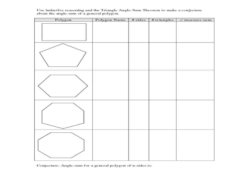 Triangle Sum Theorem Worksheet triangle angle- sum theorem 5th - 8th ...