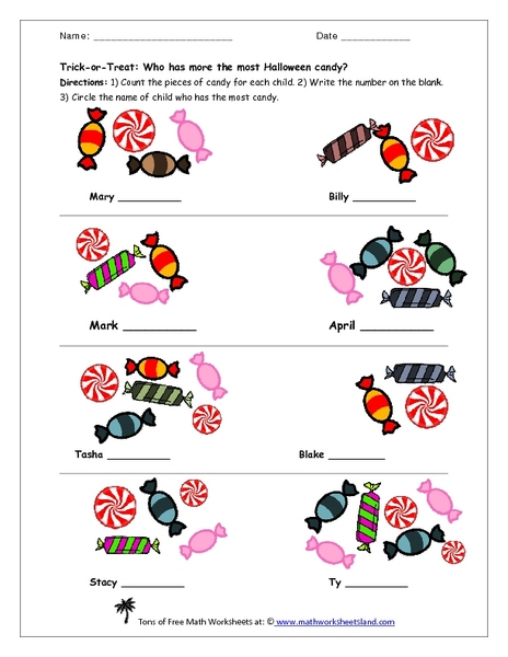 Candy Worksheets For Kindergarten : Kindergarten halloween counting worksheets