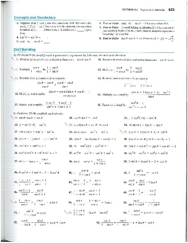 Trig Identities Worksheet - Synhoff