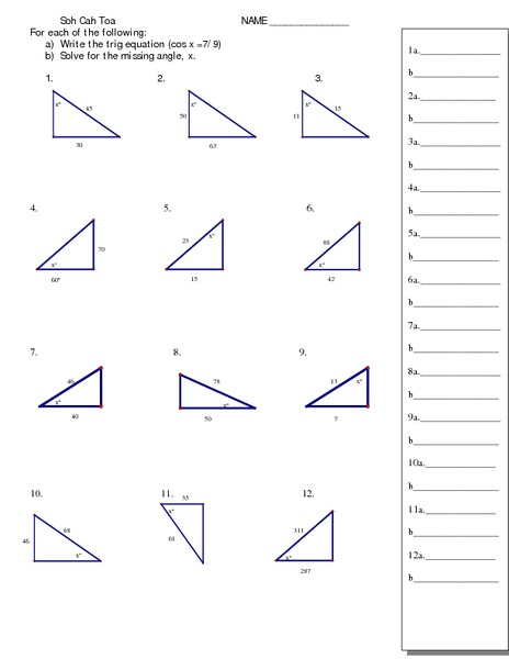 Trigonometry and Right Triangles 11th - 12th Grade Worksheet ...