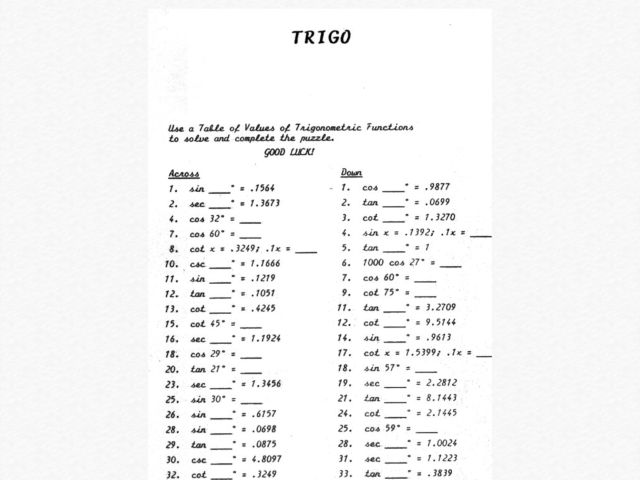Collection of Trigonometry Puzzle Worksheet - Sharebrowse