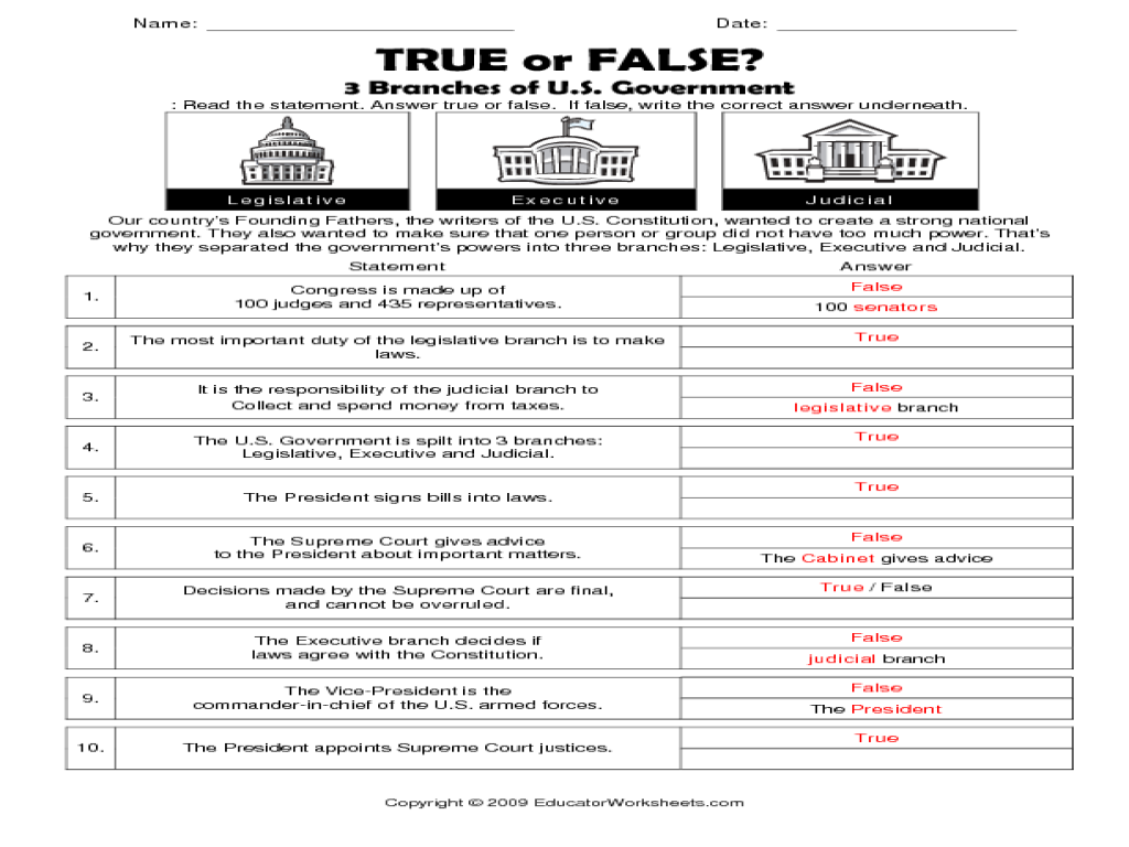 Printables Branches Of Government Worksheet true or false 3 branches of u s government 6th 8th grade worksheet lesson planet