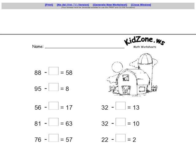 First grade math worksheets missing addends