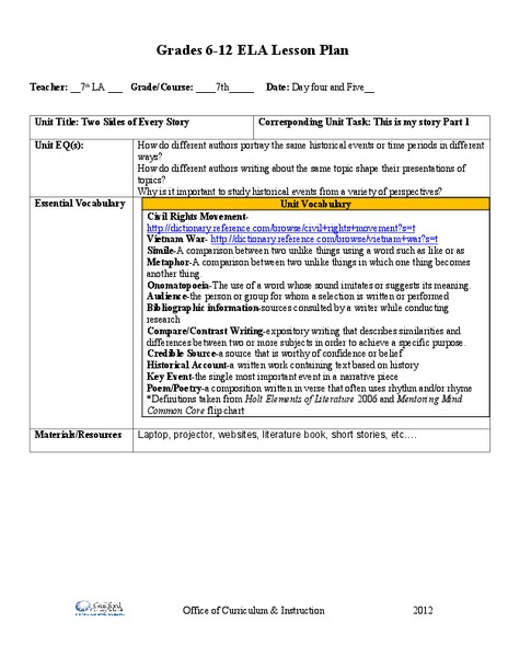 Writing 7th grade ela common core collection lesson planet