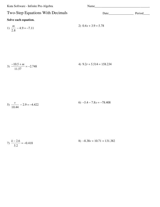 Printables 2 Step Equations Worksheet two step equations with decimals 8th 9th grade worksheet lesson planet