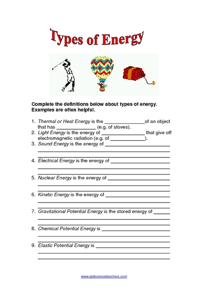 Worksheets Forms Of Energy Worksheet fourth grade science energy worksheets for kids kids
