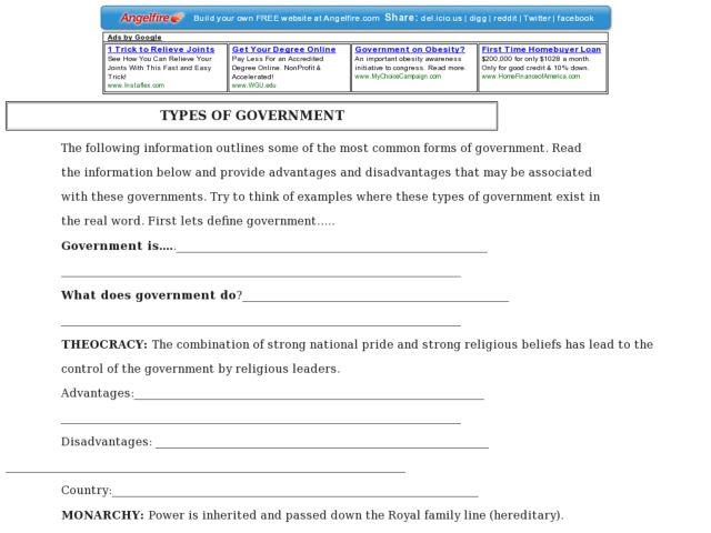 Types Of Government Worksheet - Best Worksheet