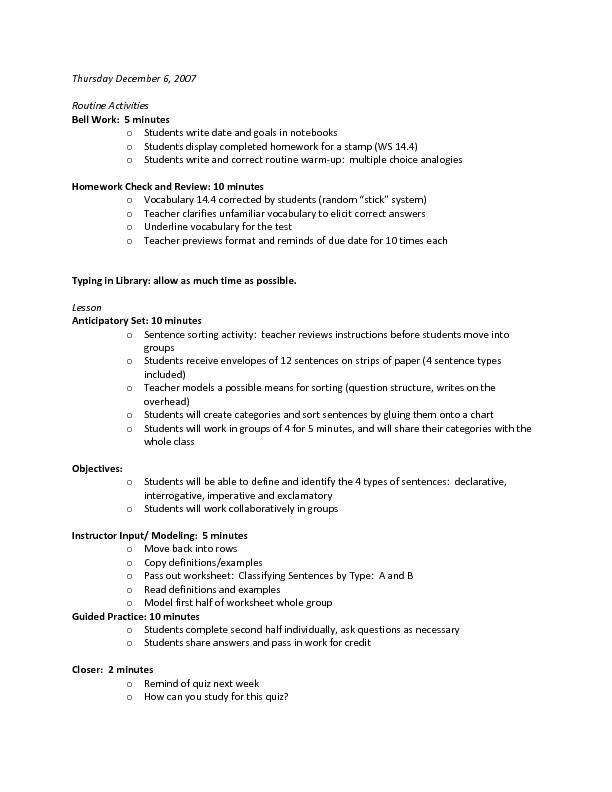 Types of Sentences 2nd 5th Grade Lesson Plan – 4 Types of Sentences Worksheet