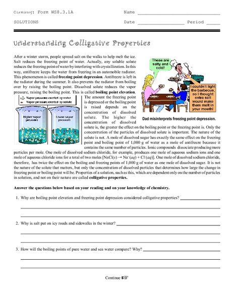 Worksheet Colligative Properties Worksheet understanding colligative properties 9th 12th grade worksheet lesson planet