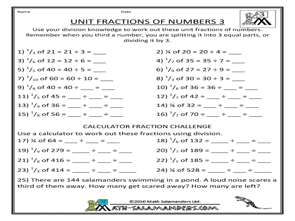 Fractions homework y4 – Finding Fractions of Amounts Worksheets