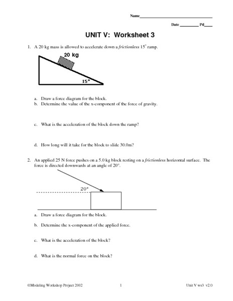 Worksheets Physics Worksheets force worksheet physics intrepidpath unit v 3 constant 9th 12th grade