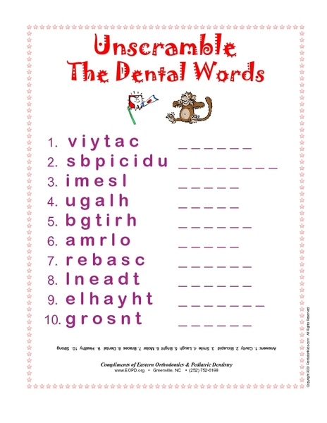 Unscramble the Dental Words 3rd - 4th Grade Worksheet | Lesson Planet