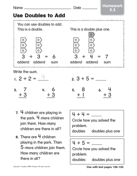 Number Names Worksheets : doubles facts worksheet ~ Free Printable ...