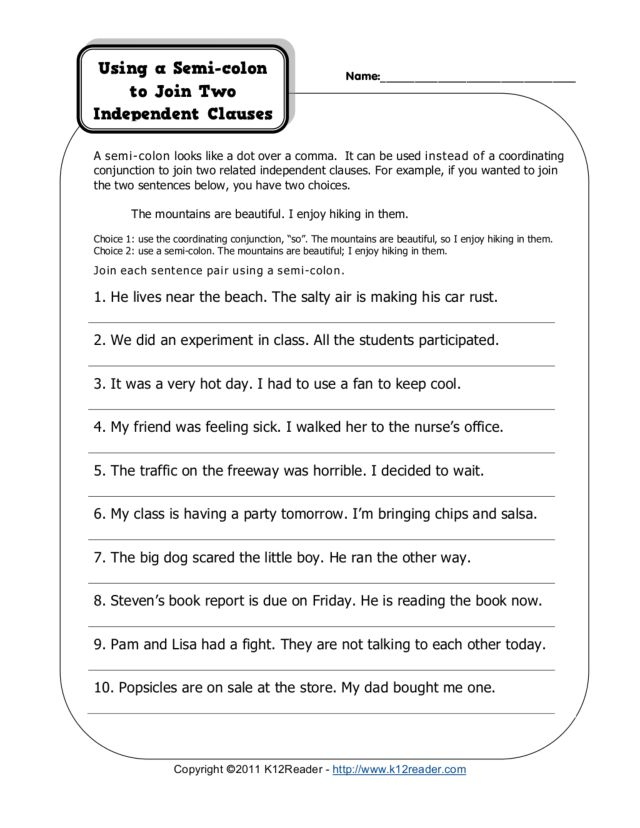 Semicolon Practice Worksheets | Worksheet & Workbook Site