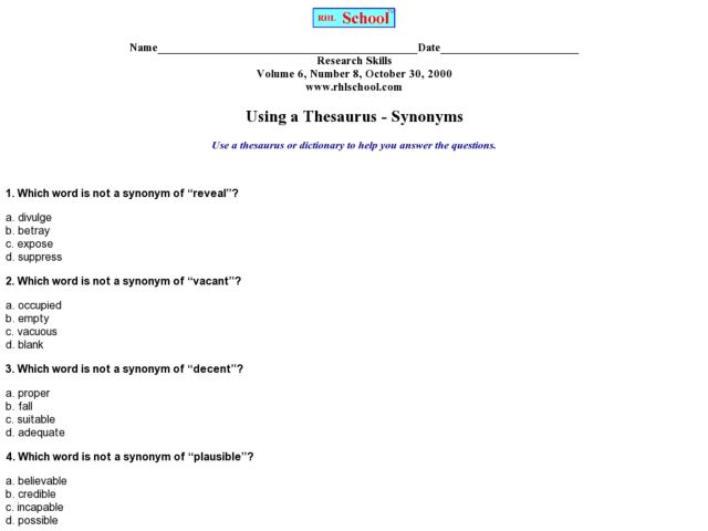 All Worksheets Thesaurus Worksheets Free Printable Preeschool – Using a Thesaurus Worksheet