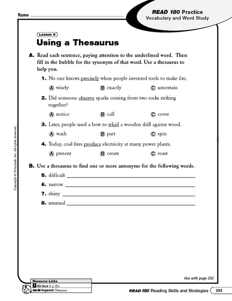 Using a Thesaurus 6th - 10th Grade Worksheet | Lesson Planet