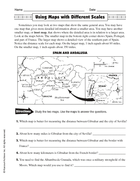 ... Worksheets Printables Using maps with different scales 5th - 6th grade