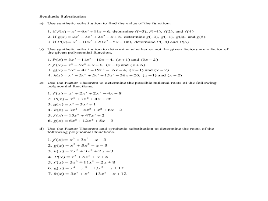 Printables Synthetic Division Worksheet using synthetic substitution and the factor theorem to determine factors of polynomials 10th 12th grade worksheet lesson planet