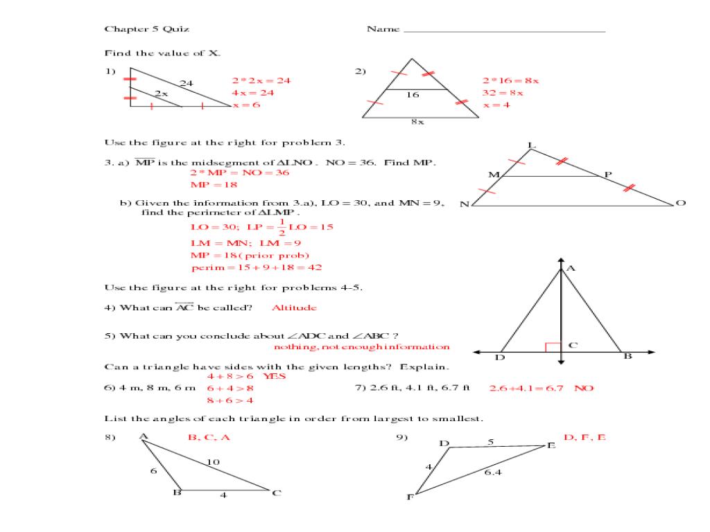 Midsegment Of A Triangle Worksheet Worksheets For School - pigmu