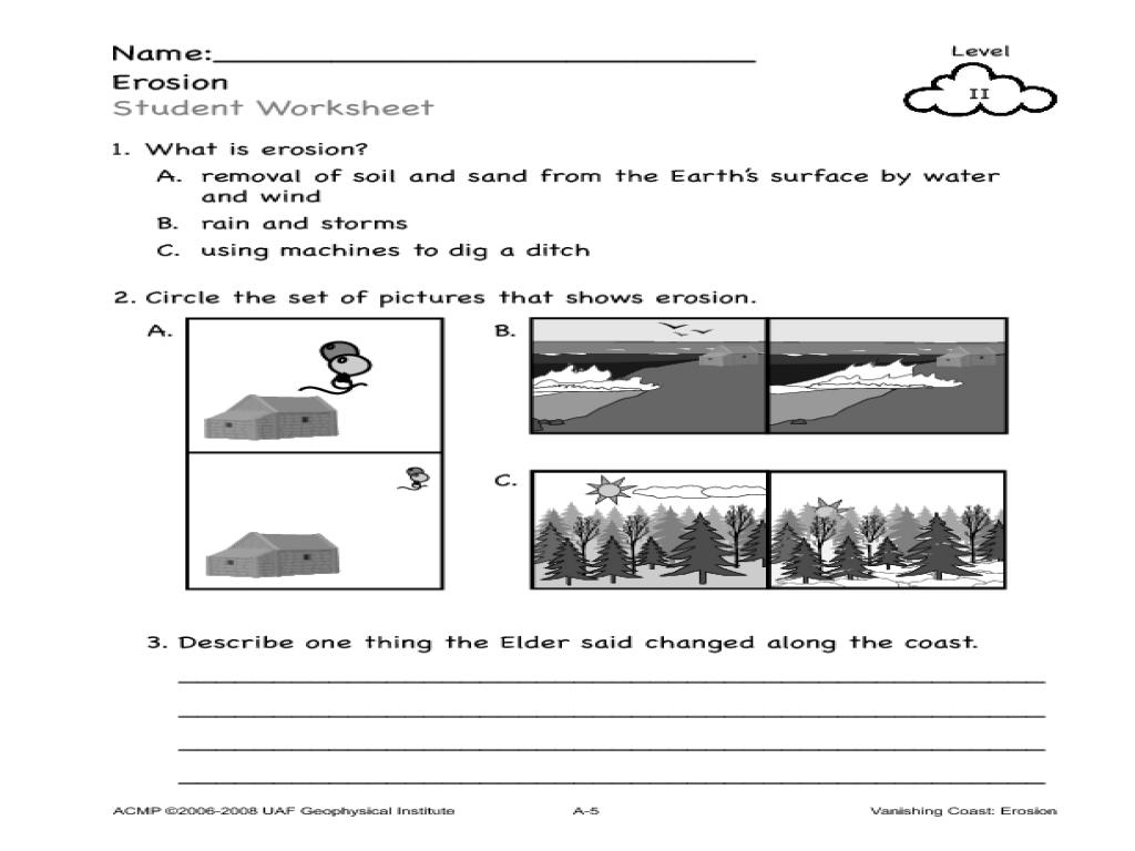 worksheet Erosion Worksheets vanishing coast erosion kindergarten 4th grade lesson plan planet