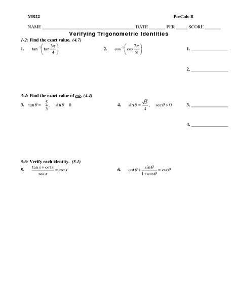 Verifying Trigonometric Identities 10th - 12th Grade Worksheet ...