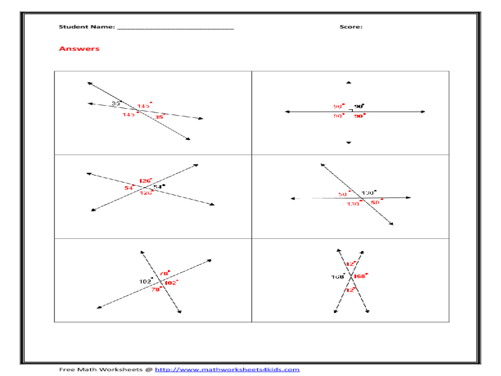 Vertical Angles Worksheet 10th Grade Worksheet | Lesson Planet