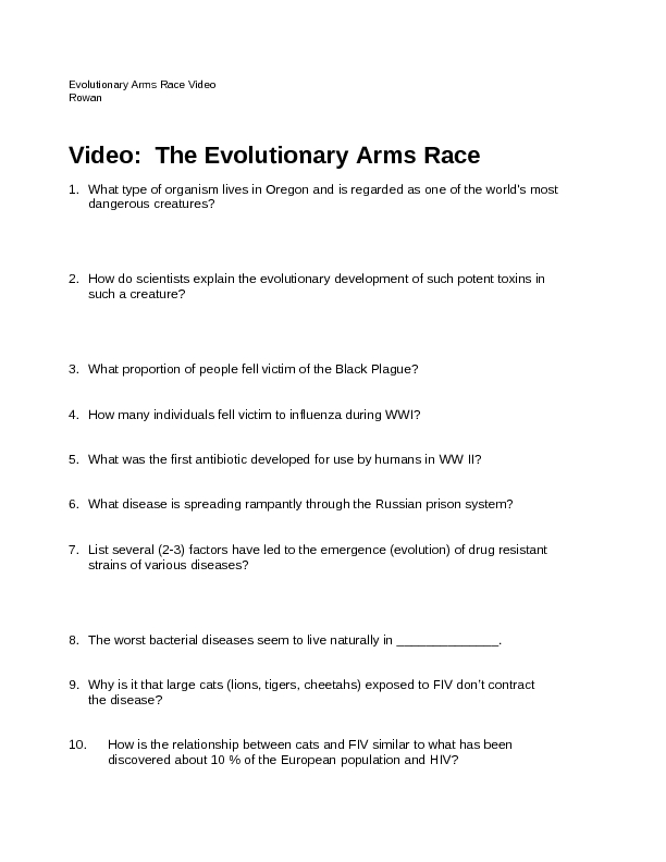 Printables Symbiotic Relationship Worksheet video the evolutionary arms race 7th 12th grade worksheet lesson planet