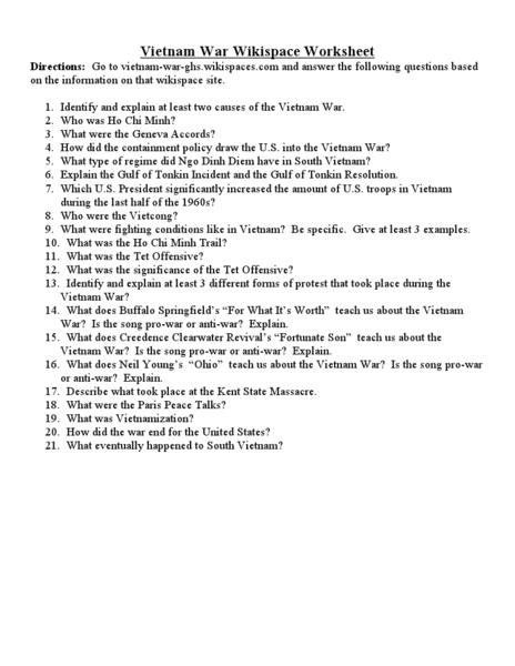 Vietnam War Worksheets - Synhoff