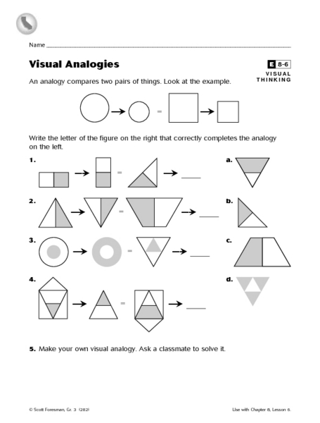 Printables Analogy Worksheets 8th Grade visual analogies 4th 8th grade worksheet lesson planet