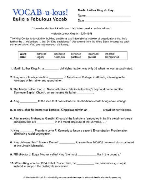Number Names Worksheets martin luther king worksheets free : Martin Luther King Worksheets Primary - Intrepidpath