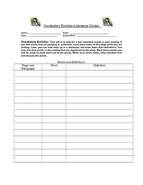 Circle Vocabulary Worksheet - Worksheets