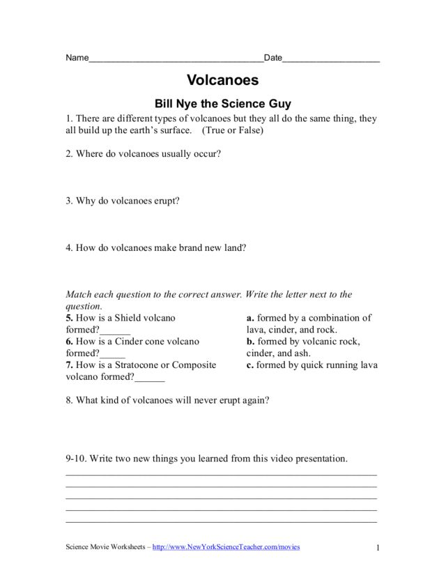 {Collection of Bill Nye The Science Guy Volcanoes Worksheet – Bill Nye Volcanoes Worksheet