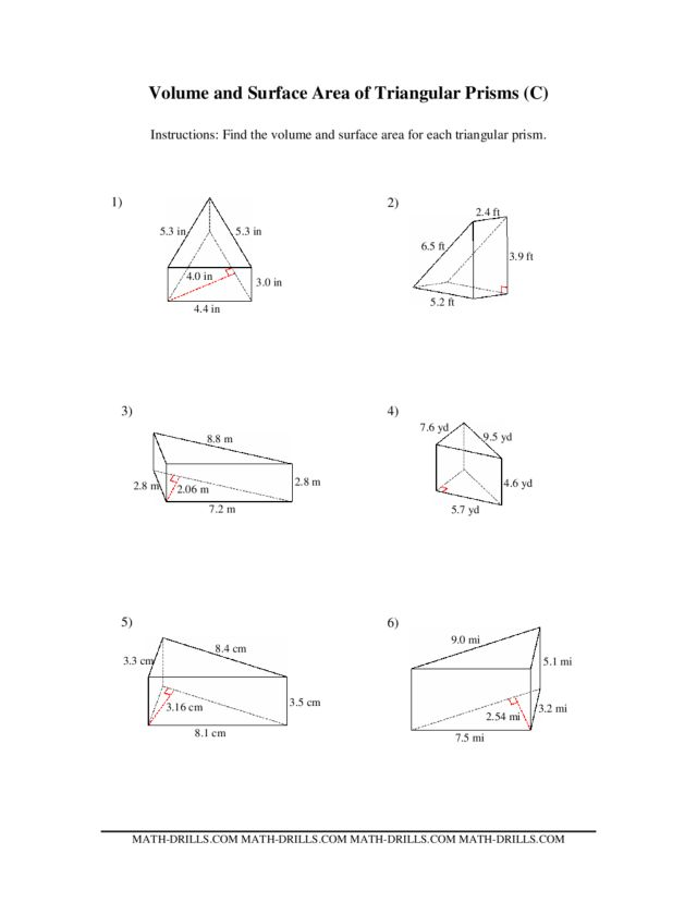 Volume and Surface Area of Triangular Prisms (C) 6th - 10th Grade ...