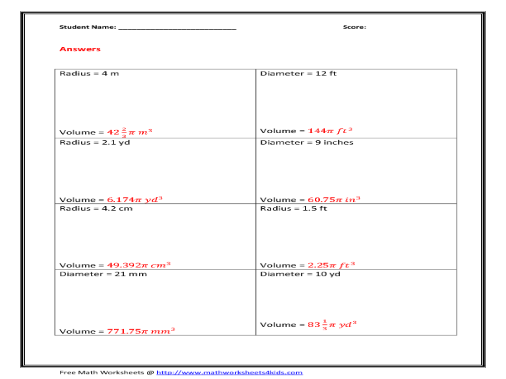 worksheet Volume Of A Sphere Worksheet volume hemisphere 8th 12th grade worksheet lesson planet