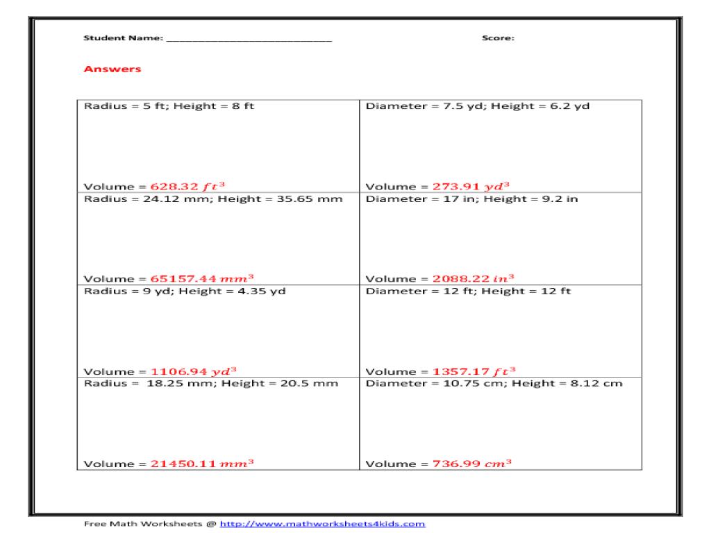 Uncategorized Volume Of A Cone Worksheet worksheet volume of a cylinder queensammy worksheets 10th grade lesson planet