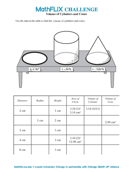 Volume of Cylinders and Cones 7th - 8th Grade Worksheet | Lesson ...