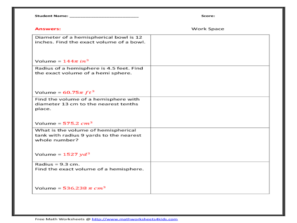 Printables Hemisphere Worksheet volume of hemisphere 8th 10th grade worksheet lesson planet
