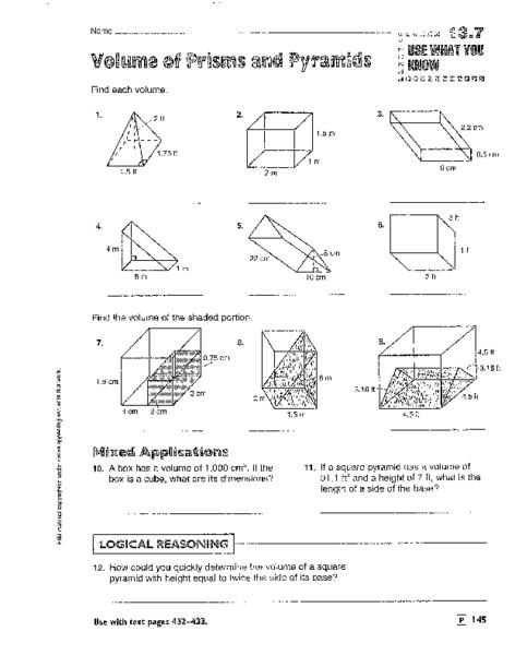 Prism Volume Worksheet Volume of Prisms Pyramids