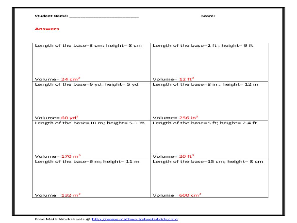 Worksheet Volume Of Pyramids Worksheet Grass Fedjp