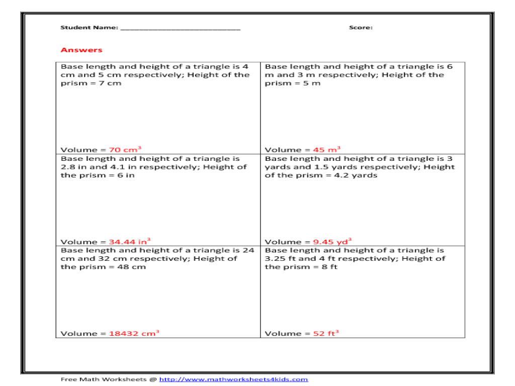 Volume of Triangular Prism 7th - 10th Grade Worksheet | Lesson Planet