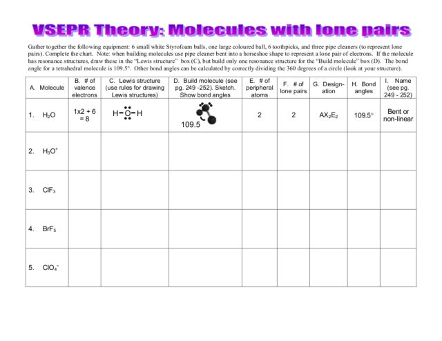 Printables Vsepr Theory Worksheet vsepr worksheets imperialdesignstudio theory worksheet molecules with lone pairs