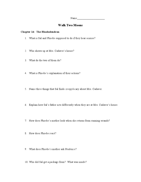 walk two moons worksheets - Math Practice, Solved Problems and ...